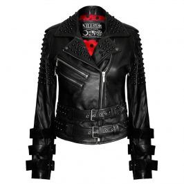 bunda kožená dámske - Buckled Leather - KILLSTAR - Black